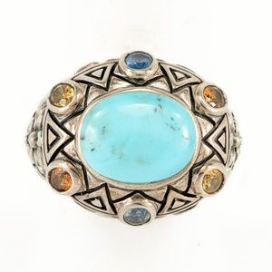 Southwest Turquoise Statement Ring Sterling Silver